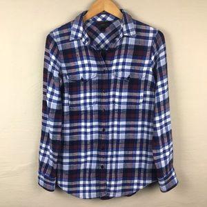 J. CREW Plaid flannel button down size 4 blue red